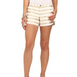 Lilly Pulitzer Adie Ivory Gold Stripe Shorts 2 NWT